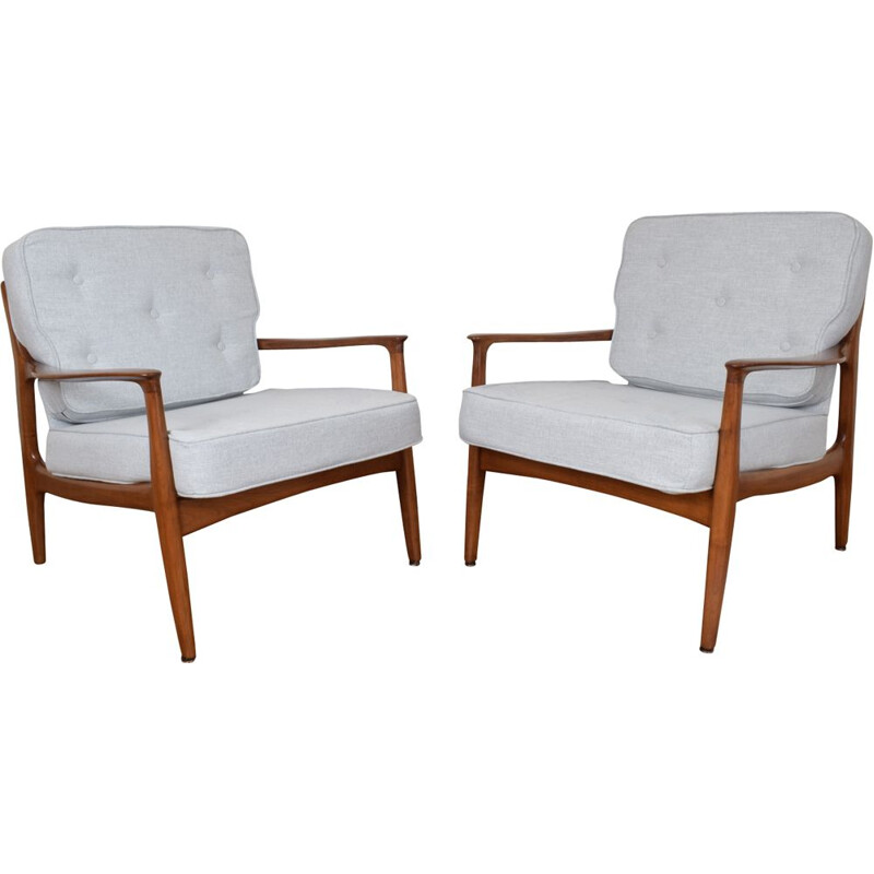 Set of 2 vintage armchairs for Soloform in fabric and cherrywood 1960s