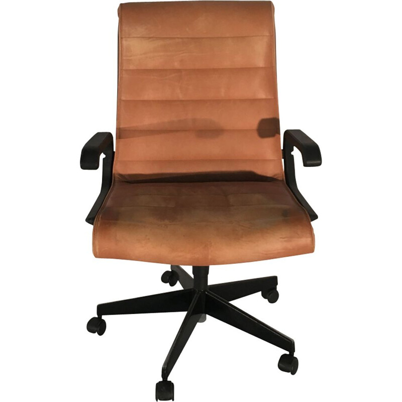 Vintage office chair by Sapper in brown leather 1950