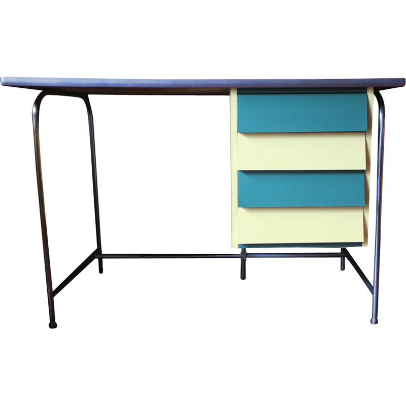Colorful tubular steel vintage desk, Italy, 1950s