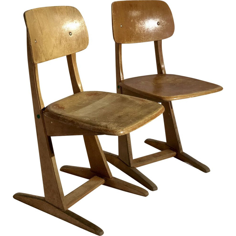 Pair of vintage scandinavian wooden chairs 1950