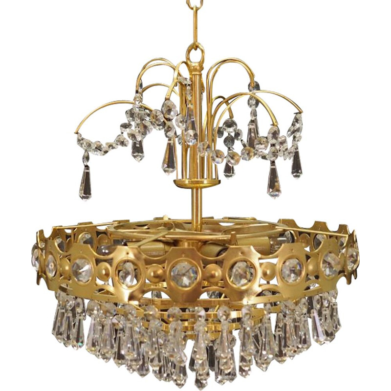 Vintage brass and crystal chandelier, 1960s