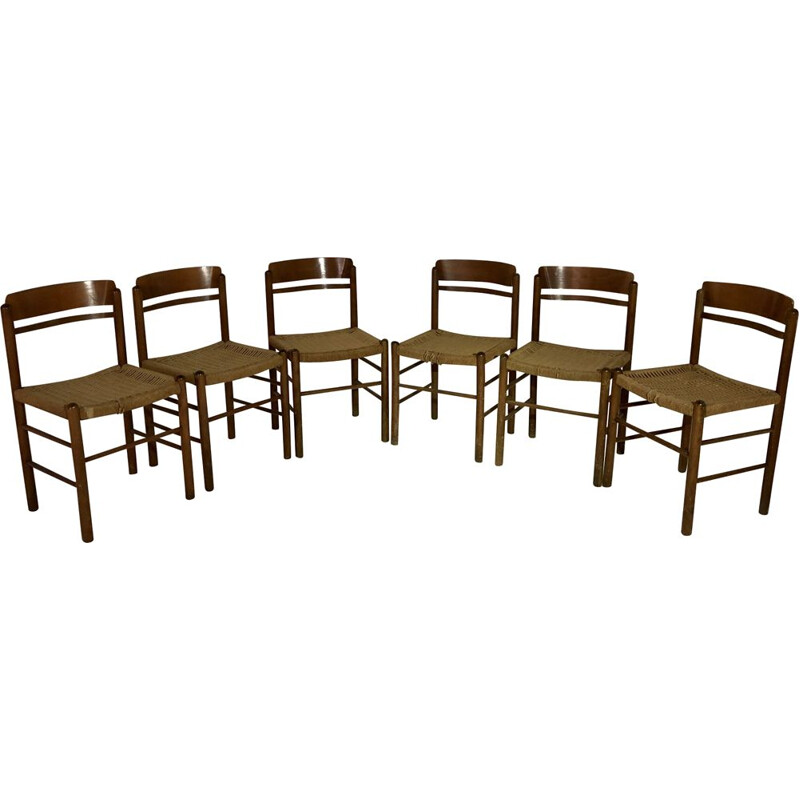 Set of 6 vintage chairs in straw and wood, 1950s