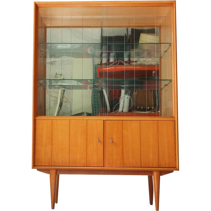Vintage Cabinet in Cherrywood with Mirrored Back, Germany, 1950
