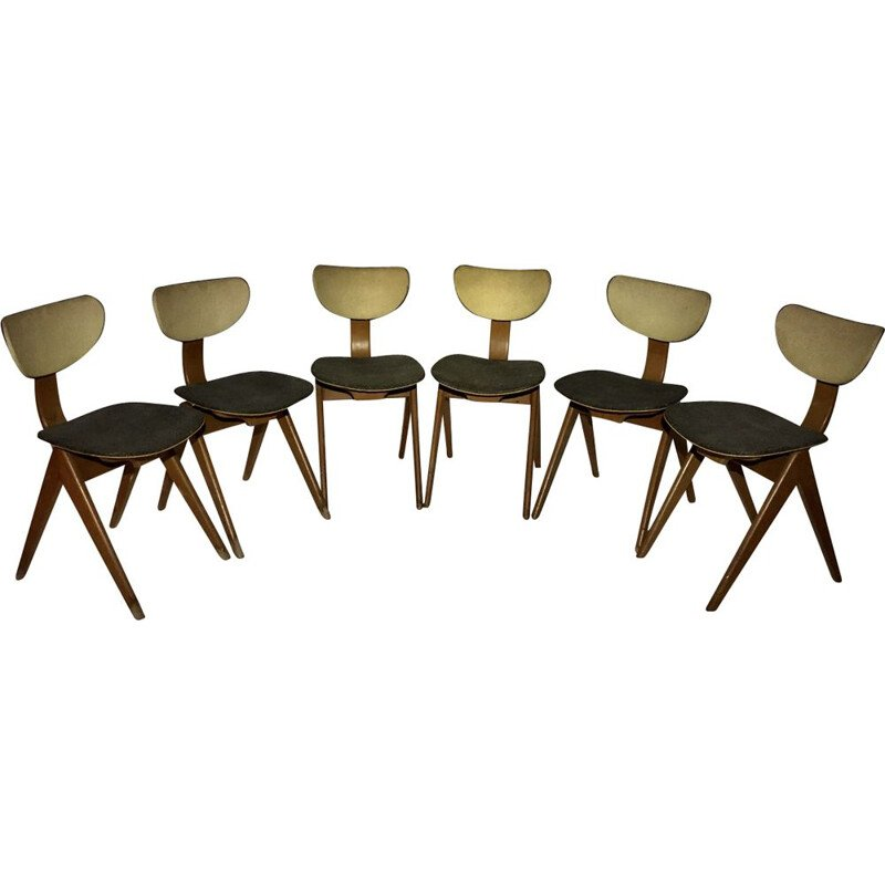 Set of 6 chairs Roche - Roset in Skai and wood, 1950s