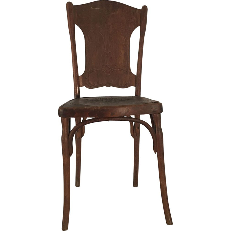 Vintage set of 6 wooden chairs by J.J. KHON, 1930s