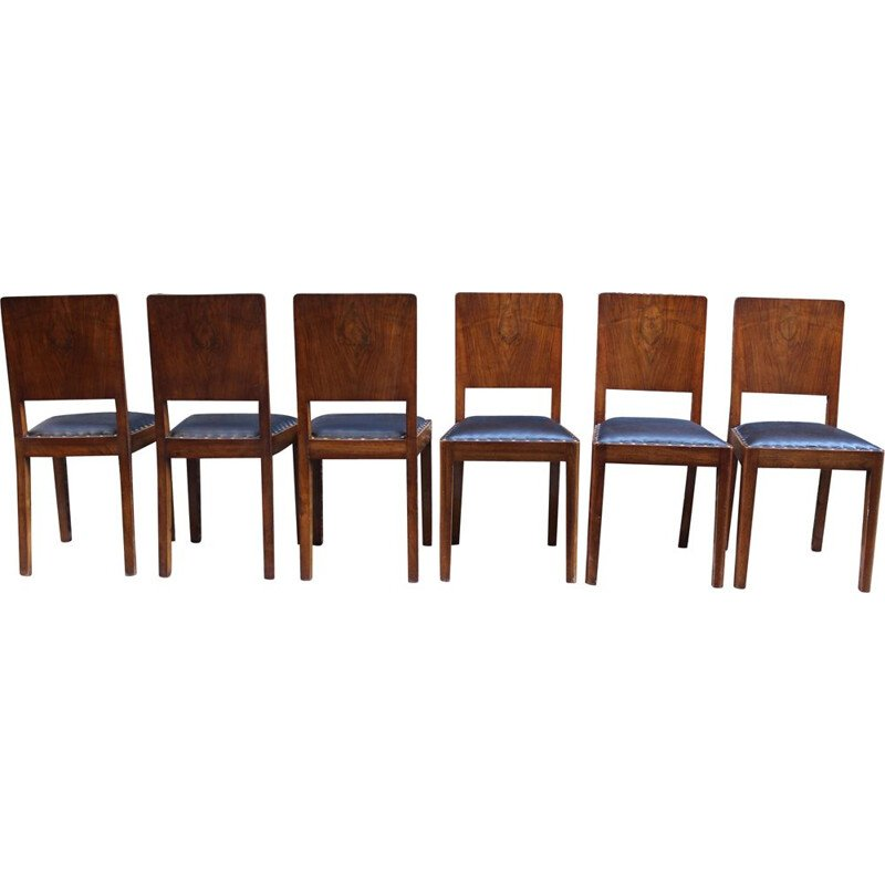 Set of 6 vintage Italian walnut and leather dining chairs