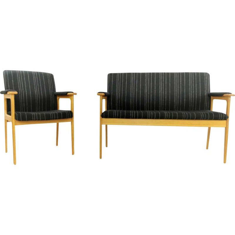 Vintage Erik Buch 2 seat sofa & armchair in black upholstery and Danish oak,1970s