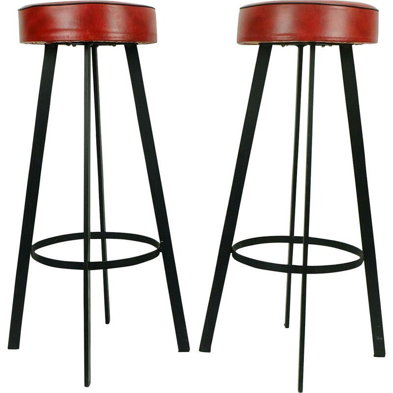 Vintage pair of iron and leatherette bar stools, 1960s