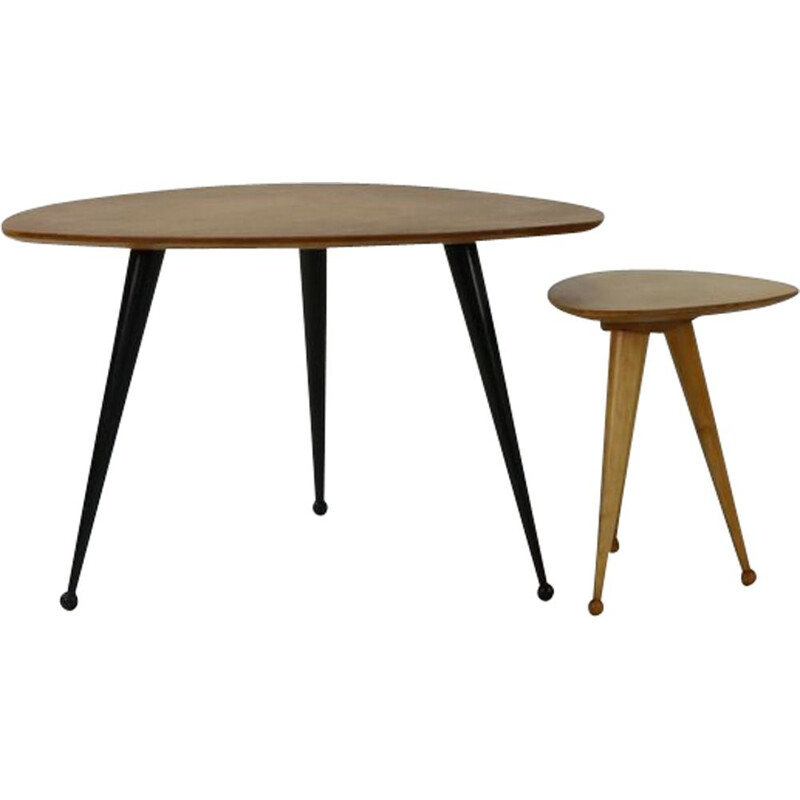 Vintage coffee table and stool by Cees braakman for Pastoe