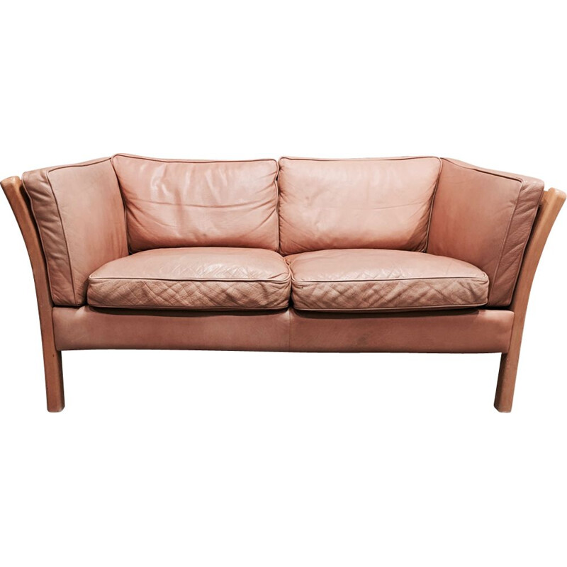 2-seater vintage sofa all leather Stouby, Scandinavian design