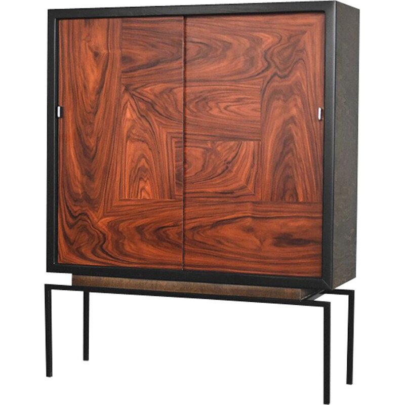Vintage belgian cabinet in rosewood and walnut 1970s