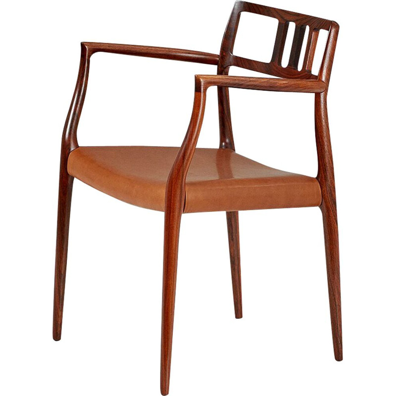 Vintage model 64 armchair for J.L. Moller in rosewood and leather 1960s
