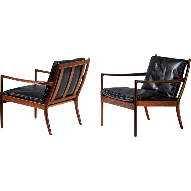 Pair of vintage Samso armchairs for Olof Perssons Fatoljindustri in rosewood