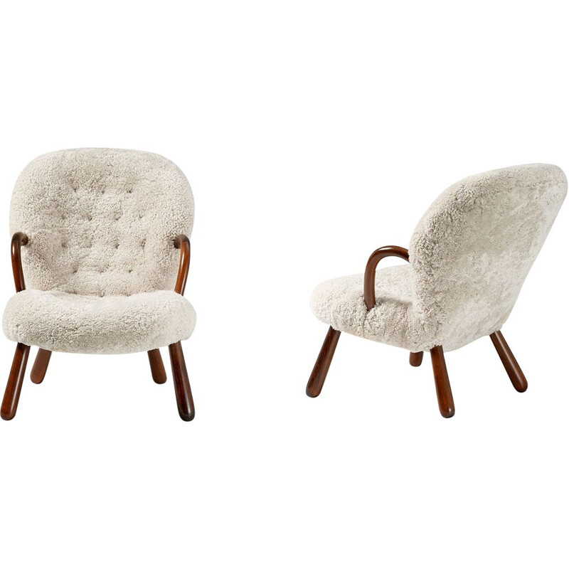 Pair of vintage beige Clam Chairs for Nordisk Staal & Mobel Central 1940s