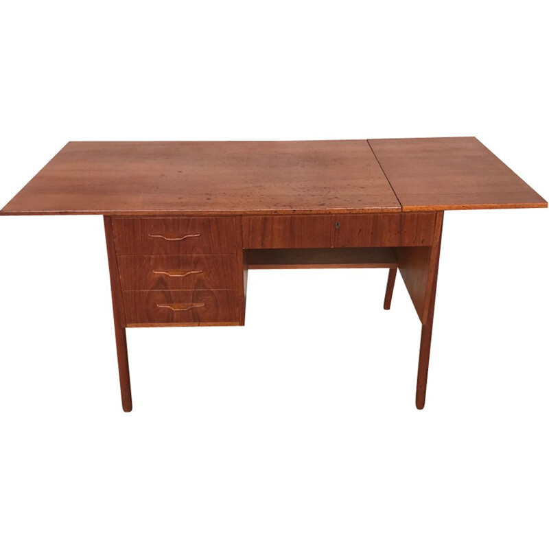 Vintage Scandinavian teak desk with extensions 1960