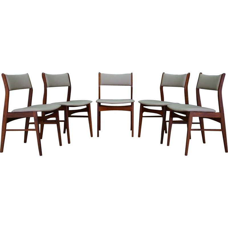 Set of 5 vintage danish chairs in teakwood 1970s