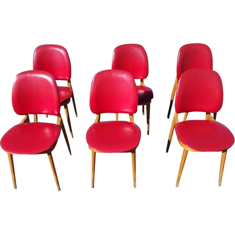 Set of 6 vintage Pégase chairs by Pierre Guariche for Baumann, 1960s