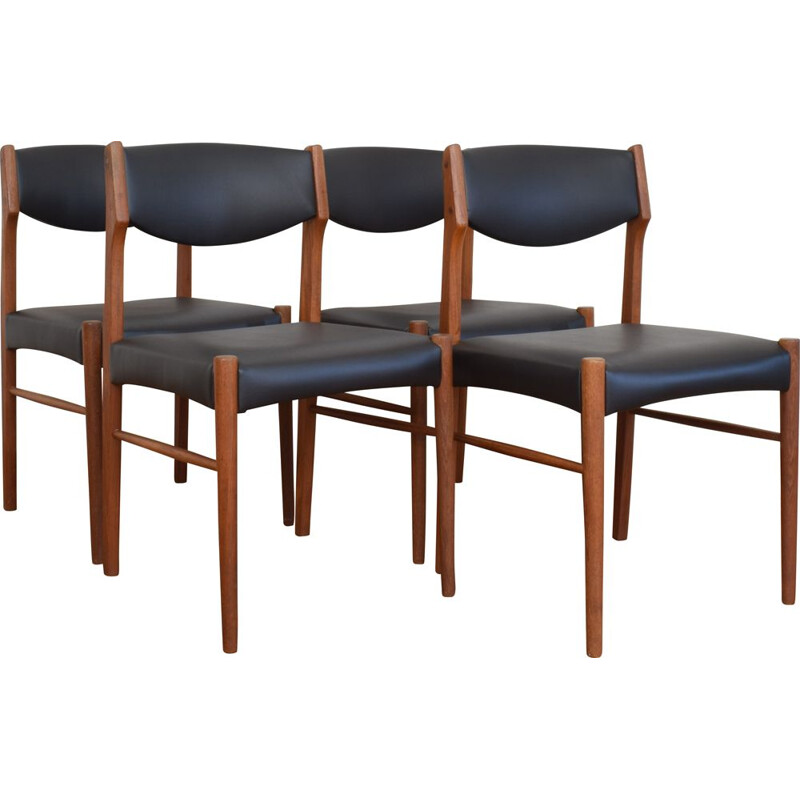 Set of 4 vintage teak dining chairs, Denmark, 1960s