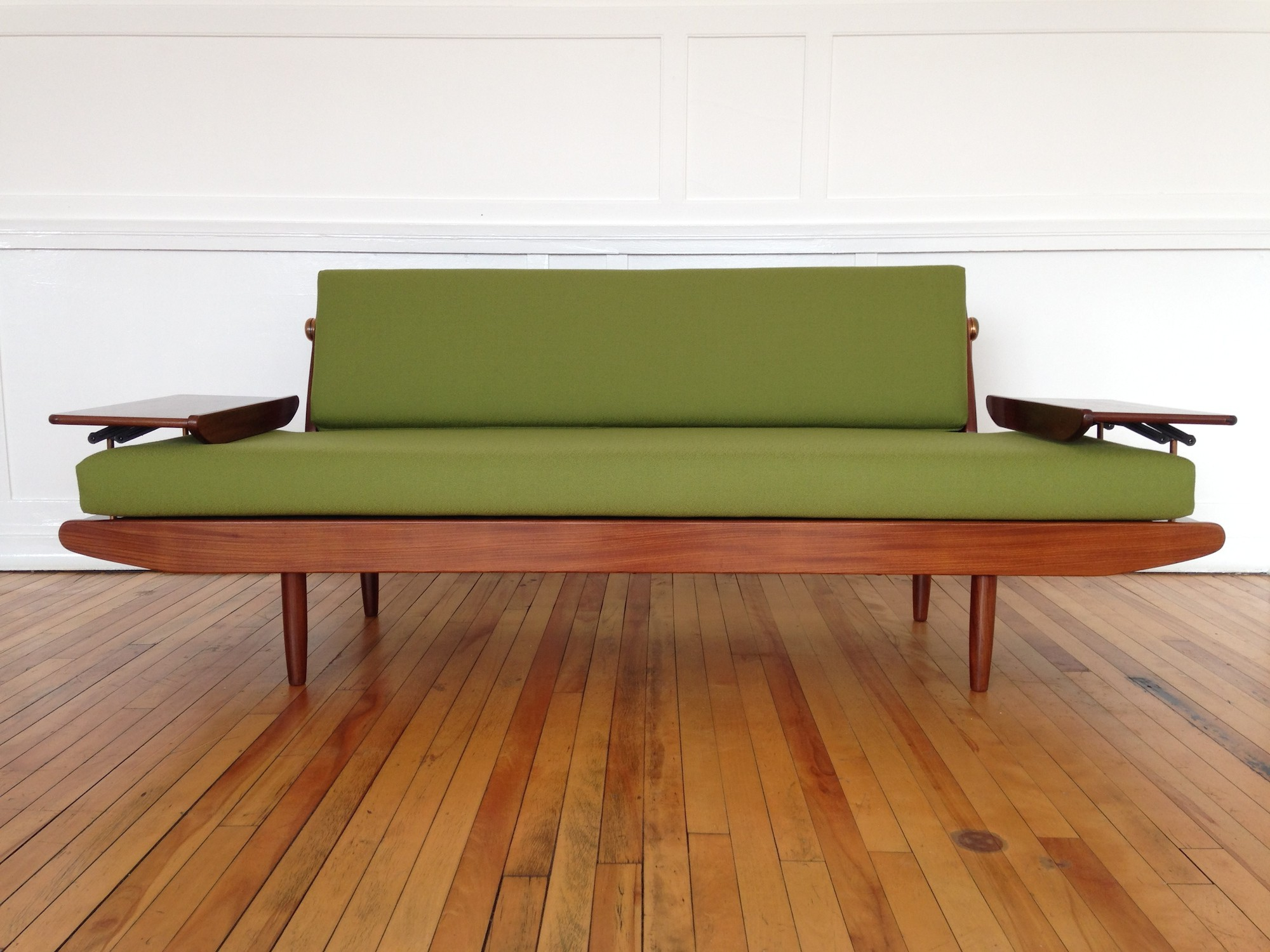 Vintage Toothill sofa bed in teak and green wool 1960s Design