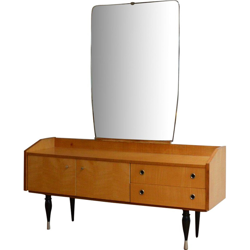 Vintage Dressing table in blond wood with large mirror 1960