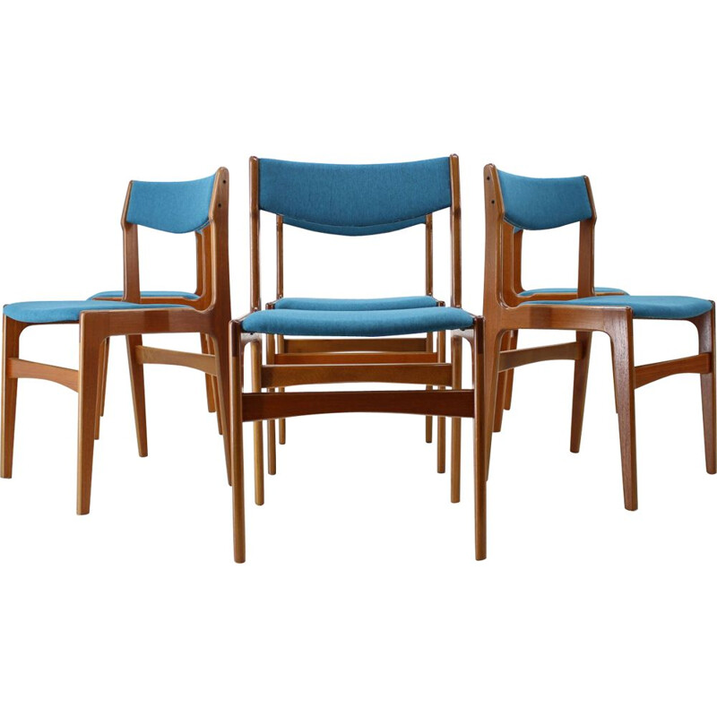 Vintage Set of 6 Dining Chairs in teak and blue fabric, Denmark, 1960s