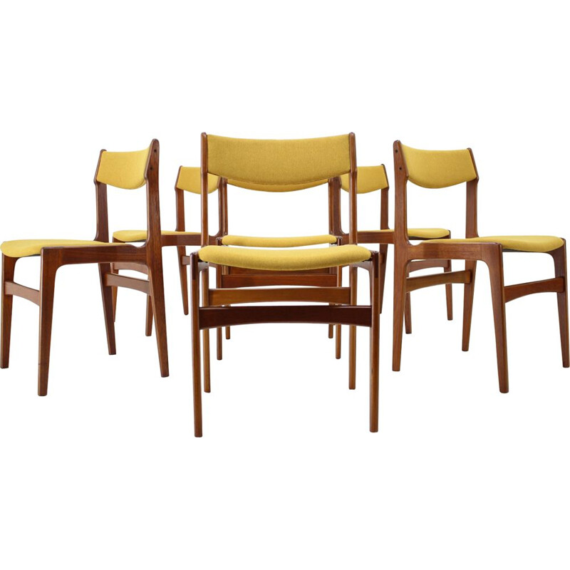 Vintage Set Of 6 Dining Chairs in teak and yellow fabric, Denmark, 1960
