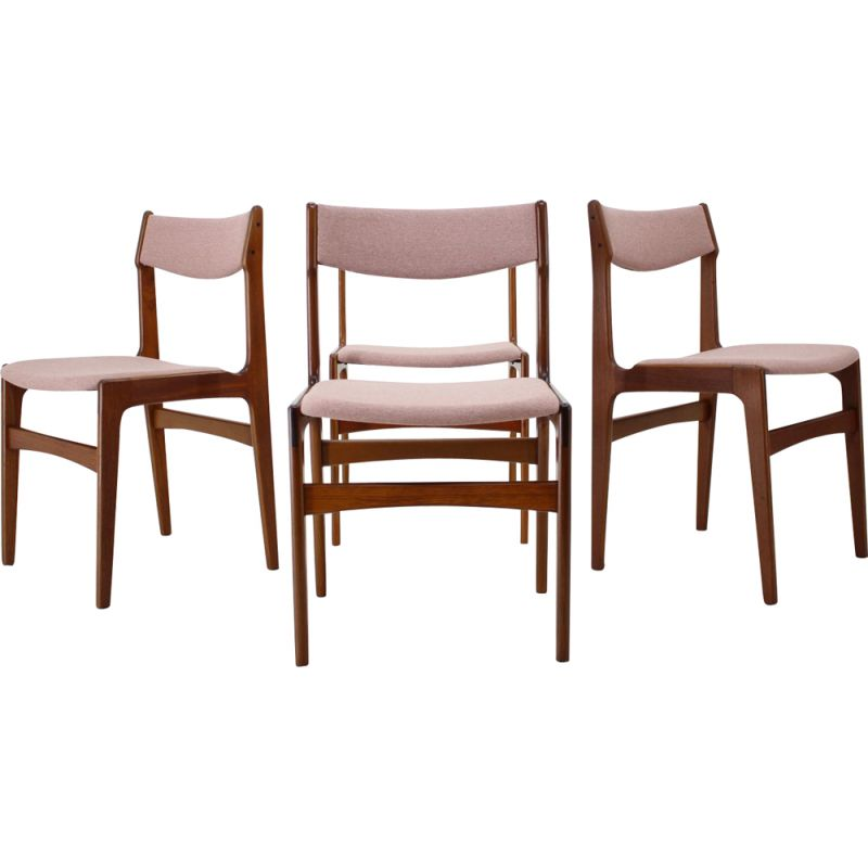 Vintage Set of 4 Dining Chairs in Teak and pink fabric, Denmark, 1960s