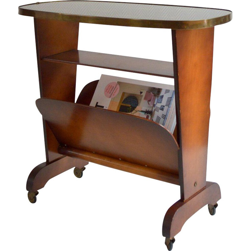 Vintage side table or magazine rack on wheels 1950s