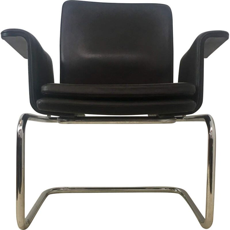 Vintage chair in black leather and chrome metal 1960