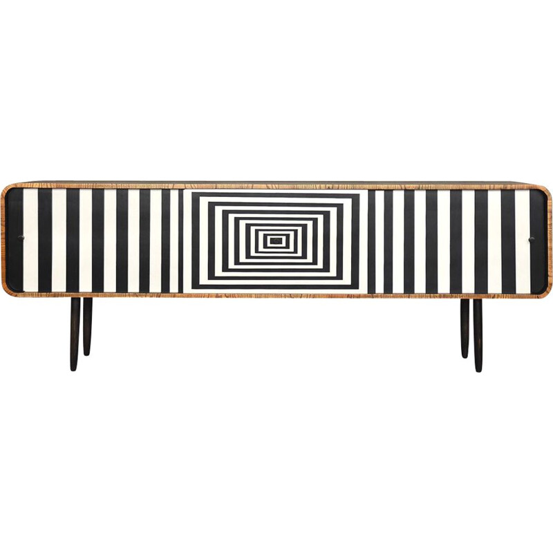 Vintage rounded sideboard in walnut and with Op-Art pattern 1960s