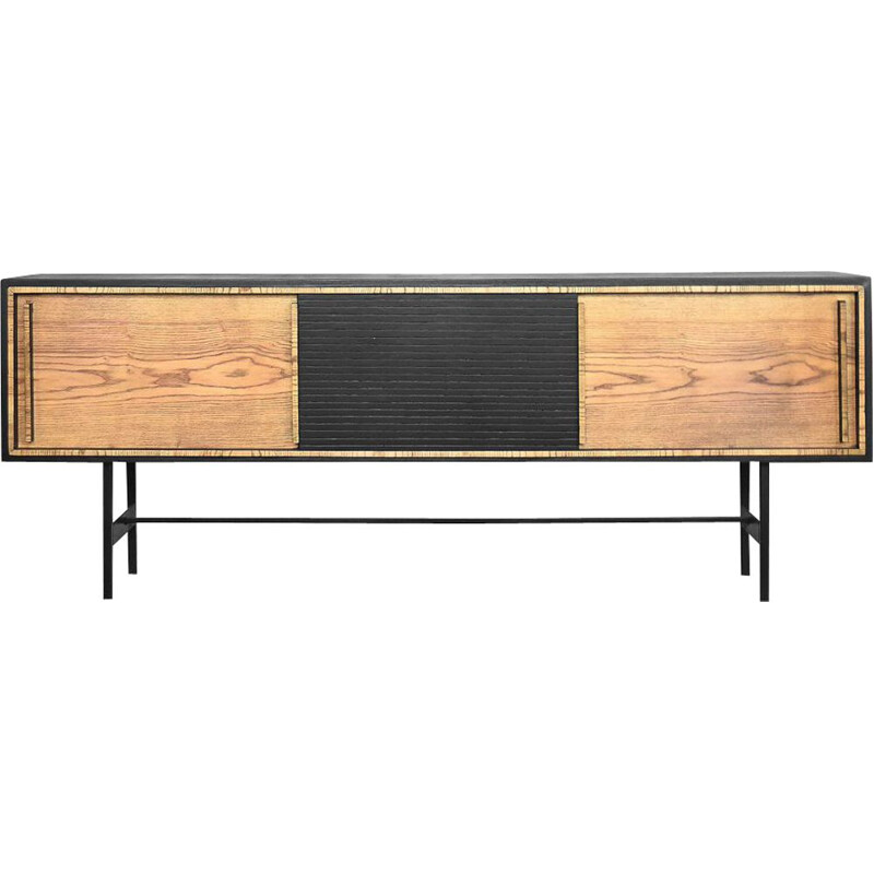 Vintage scandinavian sideboard in ashwood with black panel 1960s