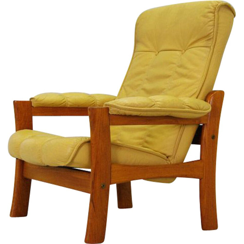 Vintage scandinavian armchair in brown leather and teak 1970s