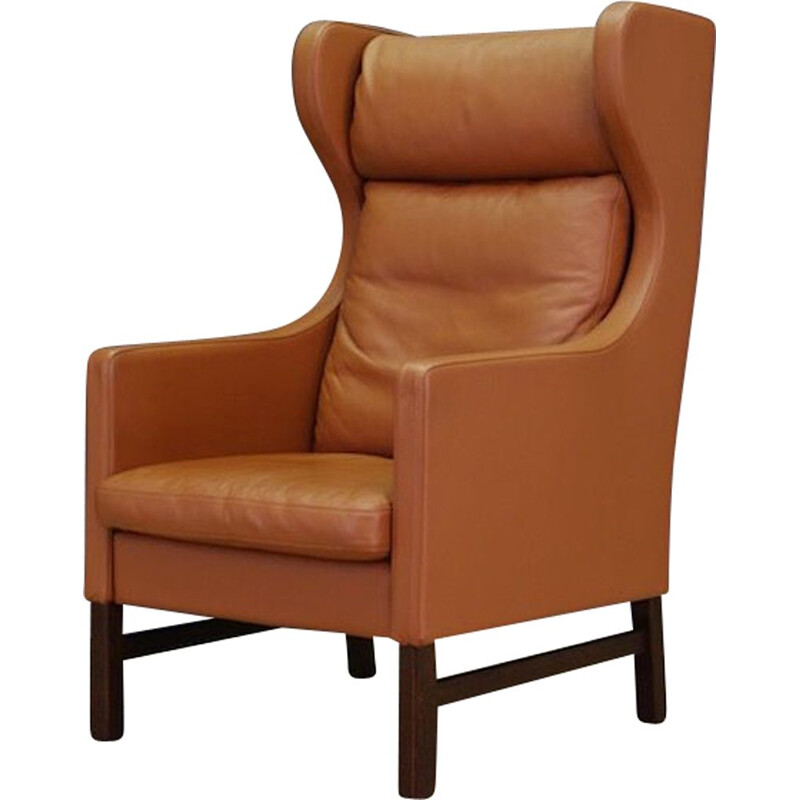 Vintage danish armchair for Skippers in brown leather 1970s