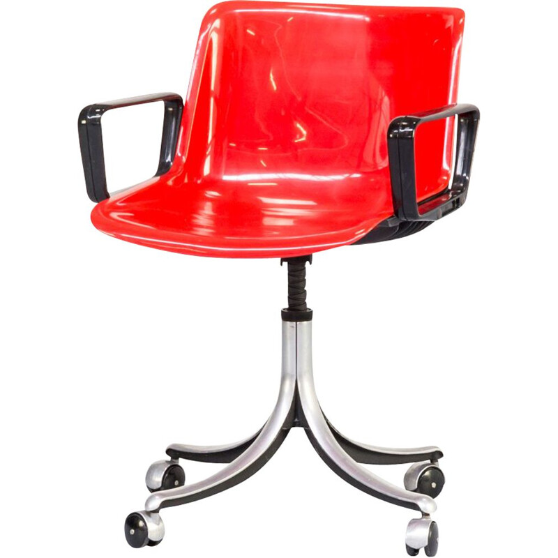 Vintage Modus red desk chair for Tecno and by Osvaldo Borsani 1970s