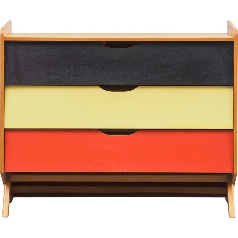 Vintage colourful shoe cabinet in wood