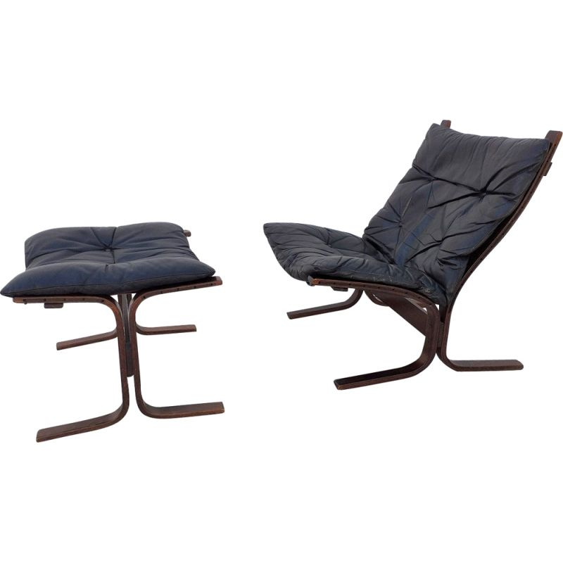 Siesta chair and ottoman in black leather by Ingmar Relling