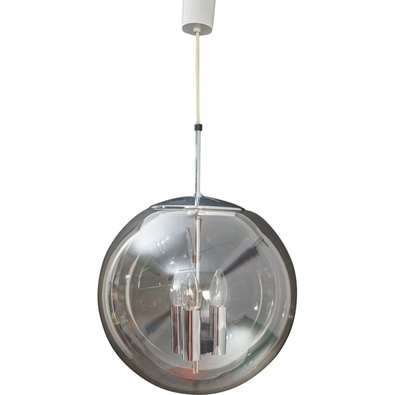 Vintage ceiling light in transparent glass by Limburg