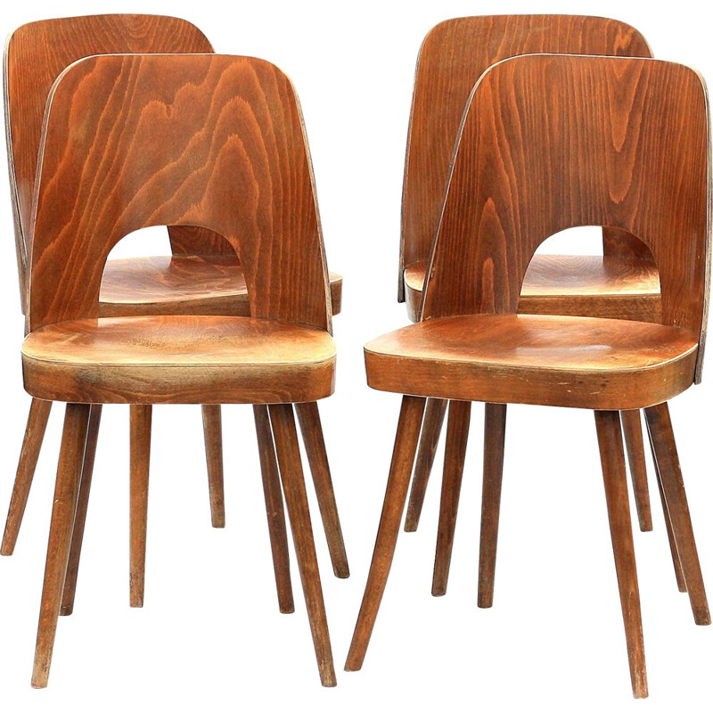 Set of 4 dining chairs by TON, model 515