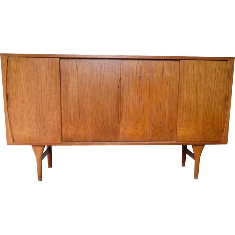 Vintage teak highboard by Henning Kjærnulf for Bruno Hansen