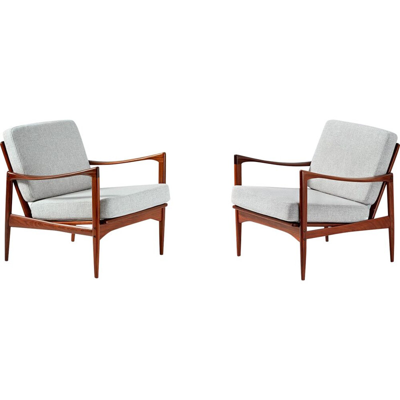 "Vintage pair of ""Candidate"" chairs by Ib Kofod-Larsen in teak, 1960s"