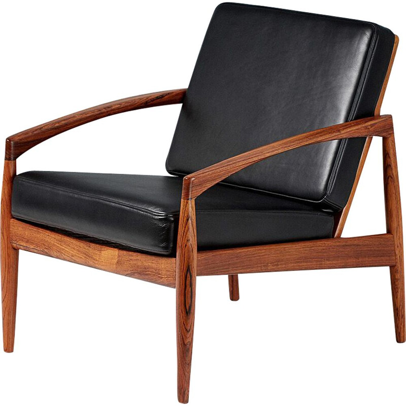 "Vintage rosewood and leather ""paper knife"" lounge chair by Kai Kristiansen, 1955"