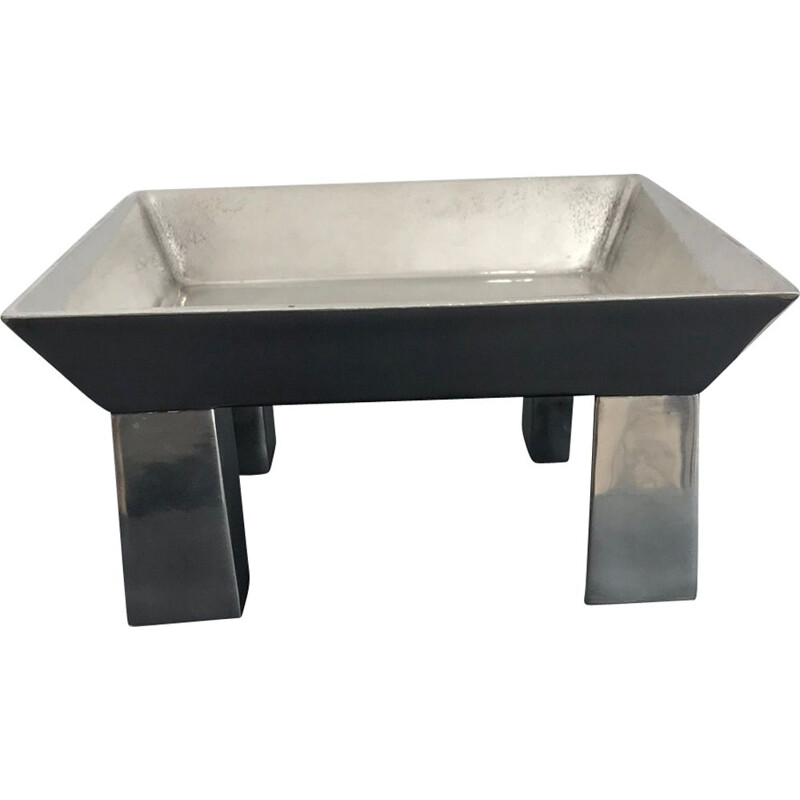 Vintage hammered pewter table centerpiece by Ettore Sottsass for Metallia Sérafino Zani, 1999