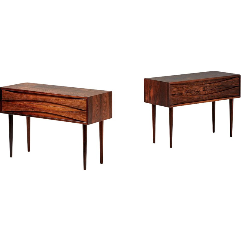 Vintage pair of Rosewood bedside cabinets by Niels Clausen 1960s