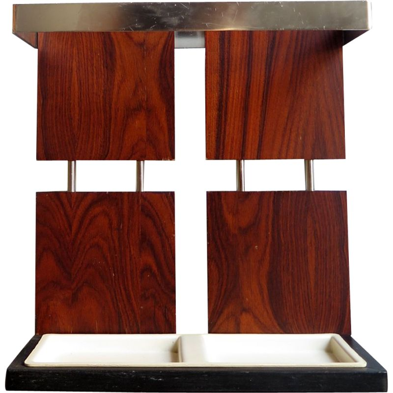 Vintage umbrella stand in rosewood and chrome, Germany 1970