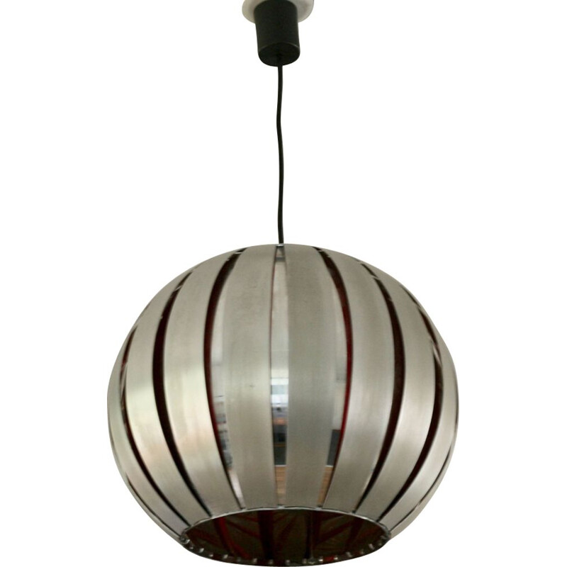 Vintage Hanging Lamp in polished steel and aluminum by Henri Mathieu, France, 1960s