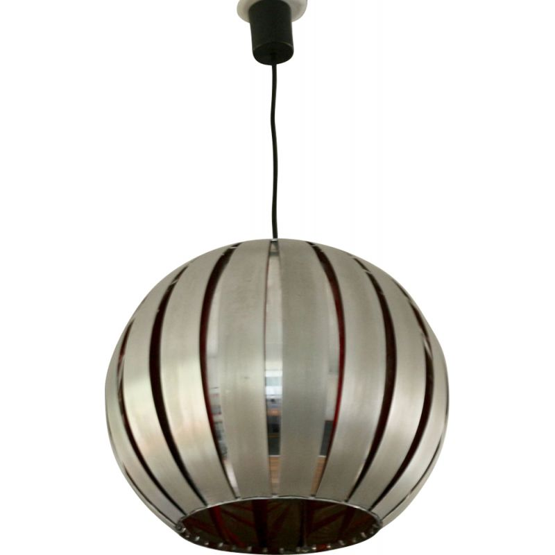 Vintage Hanging Lamp in polished steel and aluminum, France, 1960s