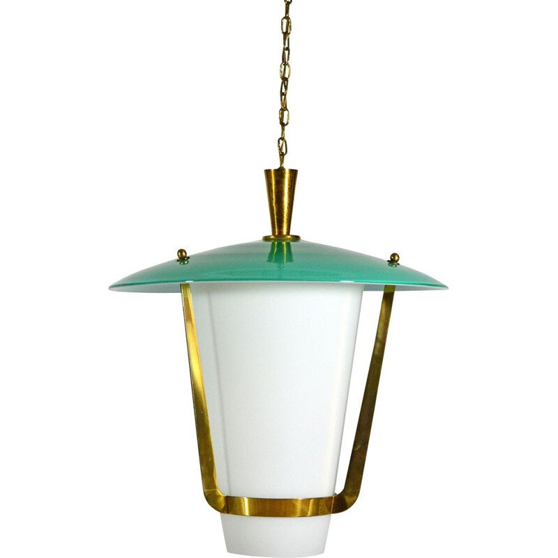 Vintage Hanging Lamp in opal and brass, Italy 1950s