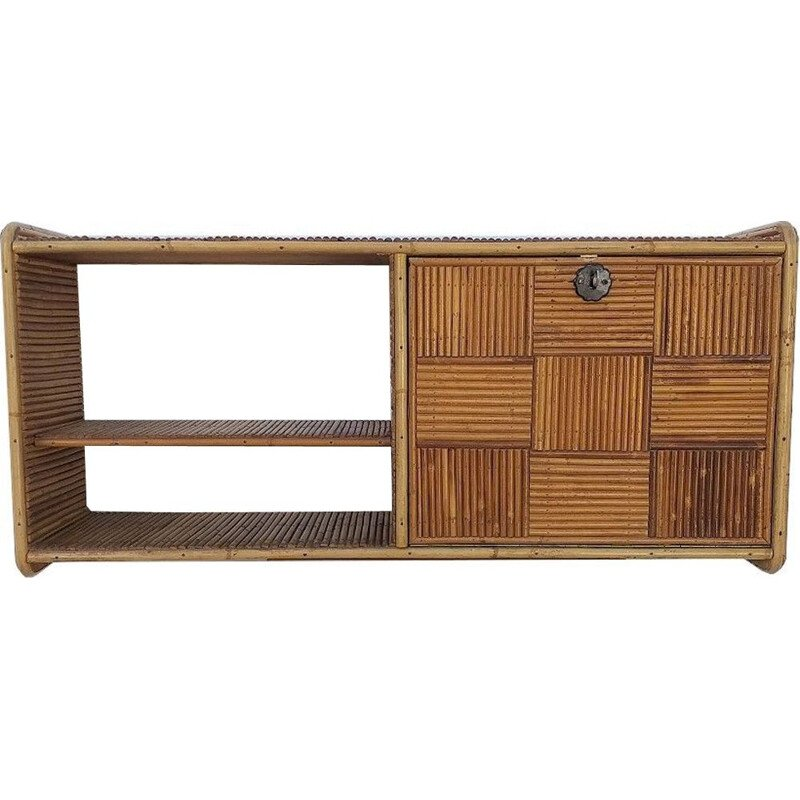 Vintage wall shelve in wood and rattan wall, 1970s