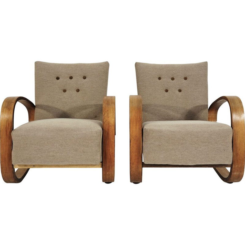 Vintage set of 2 Cantilever Armchairs by Miroslav Navratil, 1930s