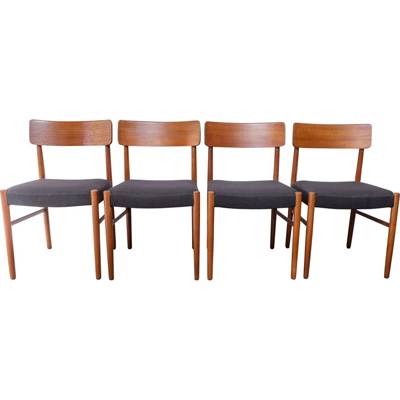 Vintage set of 4 Danish Teak Dining Chairs 1950s